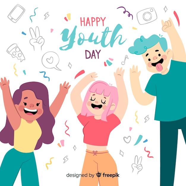 Sfondo di giorno della gioventù design piatto Vettore gratuito
