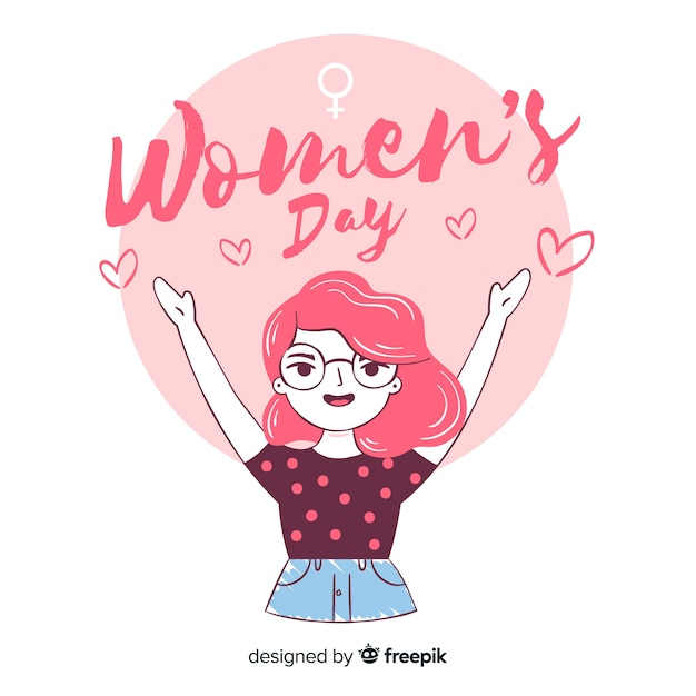 Sfondo di giorno delle donne disegnati a mano Vettore gratuito