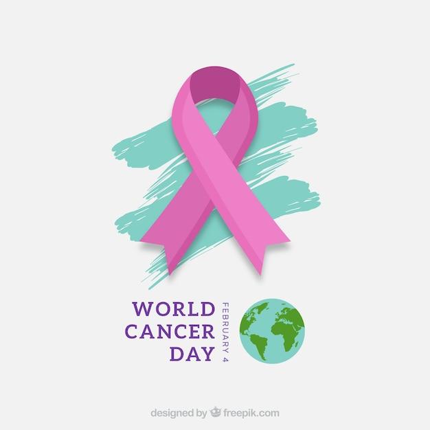 Sfondo di giorno di cancro piatto del mondo Vettore gratuito