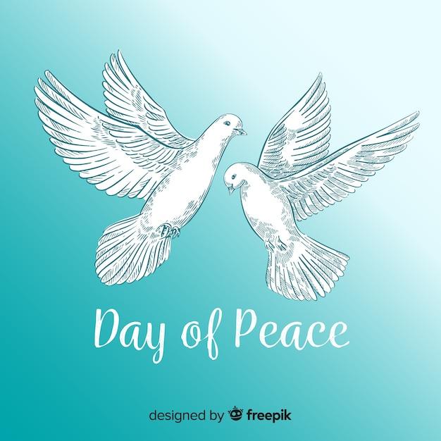 Sfondo di giorno di pace con colomba Vettore gratuito