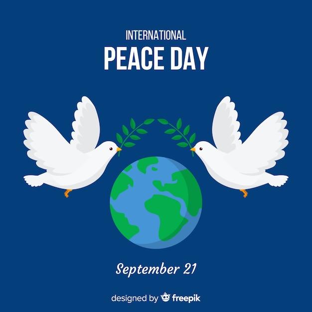 Sfondo di giorno di pace con colombe e mondo Vettore gratuito