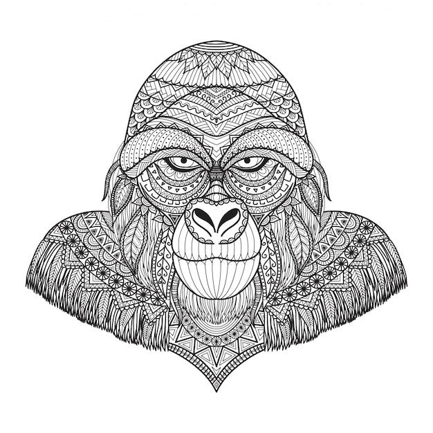 Sfondo di gorilla disegnato a mano Vettore gratuito