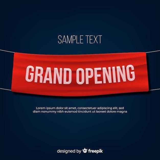 Sfondo di grande apertura con banner in tessuto realistico Vettore gratuito