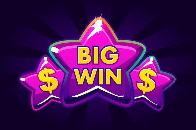 Sfondo di grande vittoria banner per casinò online, poker, roulette, slot machine, giochi di carte. icona viola stelle. Vettore Premium