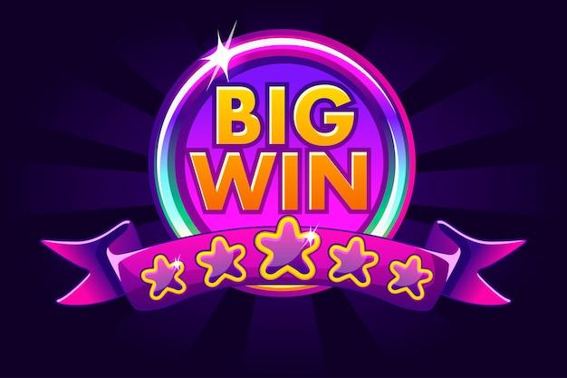 Sfondo di grande vittoria banner per casinò online, poker, roulette, slot machine, giochi di carte. Vettore Premium