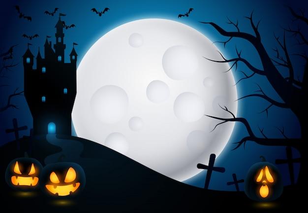 Sfondo di halloween con castello e luna Vettore gratuito