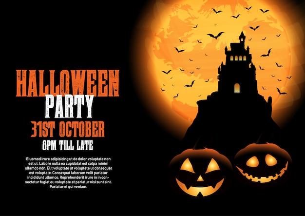 Sfondo di halloween con castello e zucche Vettore gratuito