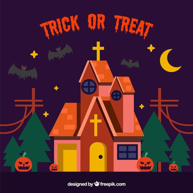 Halloween Chiesa.Sfondo Di Halloween Con La Chiesa Creepy Scaricare Vettori Gratis