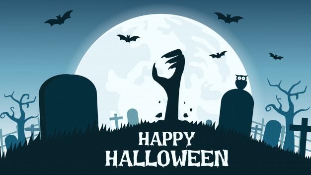 Sfondo di halloween con le mani di zombie Vettore Premium
