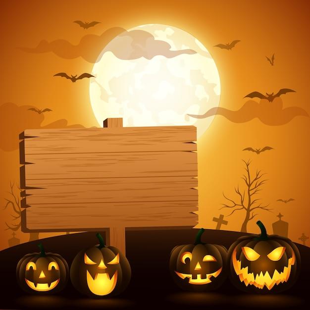 Sfondo di halloween con un cartello in legno. illustrazione vettoriale Vettore Premium