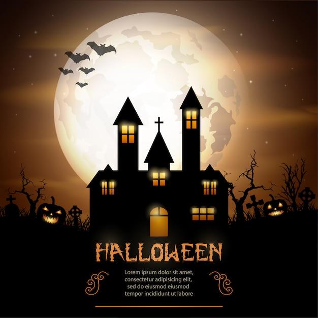 Halloween Chiesa.Sfondo Di Halloween Con Zucche E Chiesa Spaventosa Scaricare
