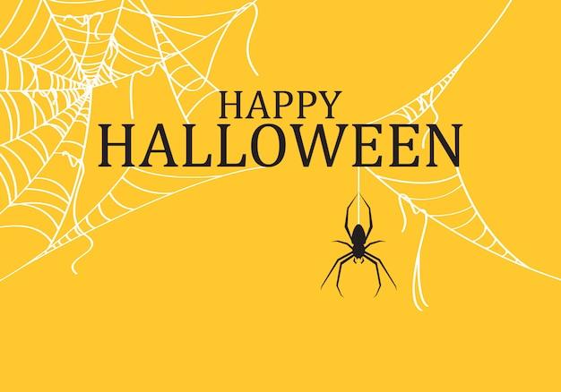 Sfondo di halloween decorato con ragnatela strappata. Vettore Premium