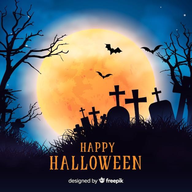 Sfondo di halloween raccapricciante con un design realistico Vettore gratuito