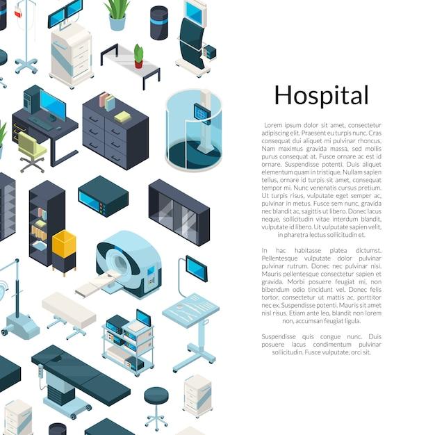 Sfondo di icone ospedale isometrico con posto per il testo Vettore Premium