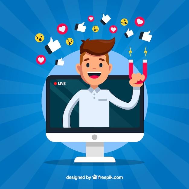 Sfondo di influencer di facebook Vettore gratuito