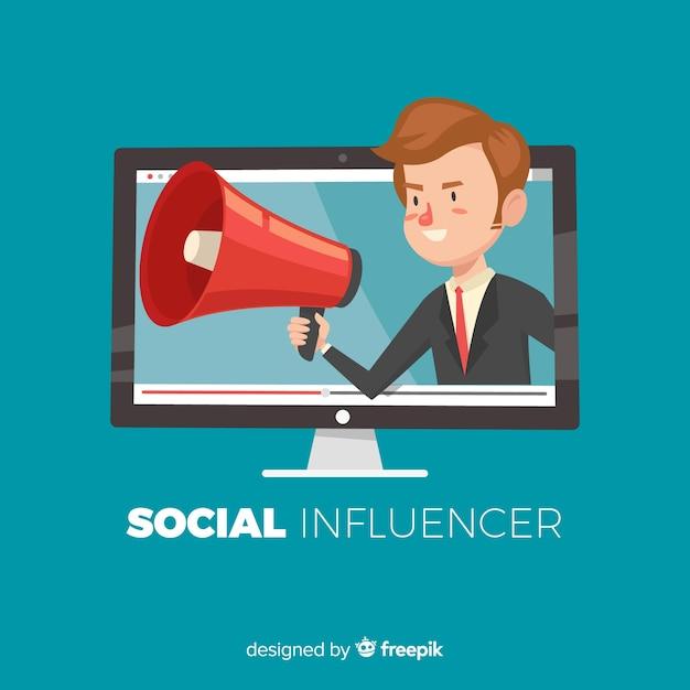 Sfondo di influencer sociale Vettore gratuito