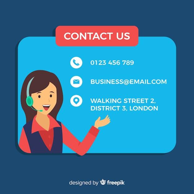 Sfondo di informazioni piatte call center Vettore gratuito