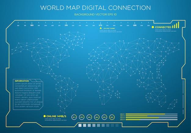 Sfondo di interfaccia digitale mappa mondo high-tech Vettore Premium