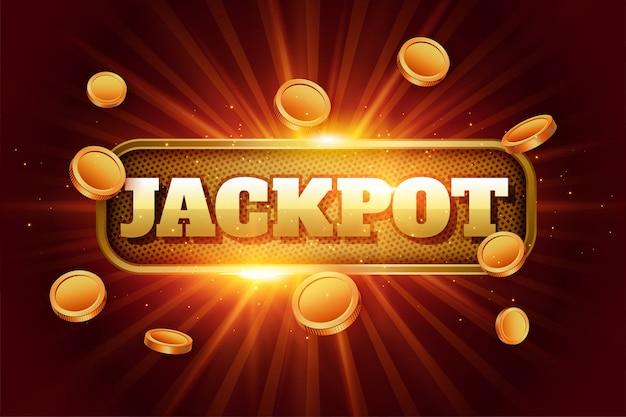 Sfondo di jackpot con monete d'oro volanti Vettore gratuito