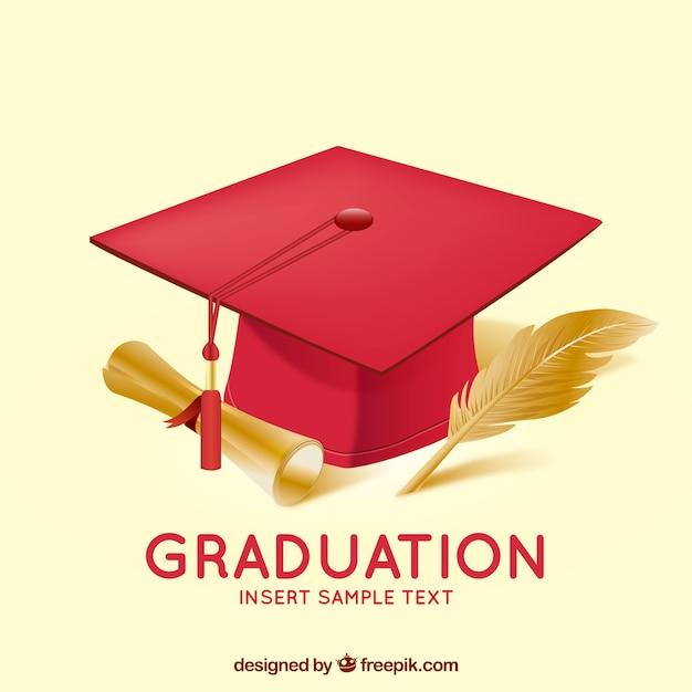 Sfondo di laurea con mortarboard Vettore gratuito