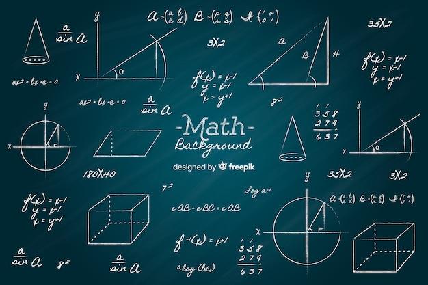 Sfondo di lavagna matematica realistica Vettore gratuito