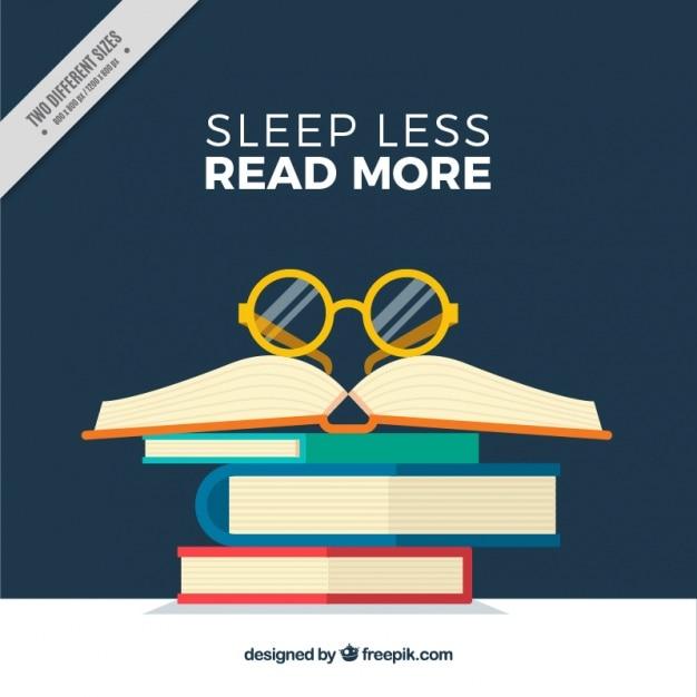 Sfondo di libri con gli occhiali e inspirational frase Vettore gratuito