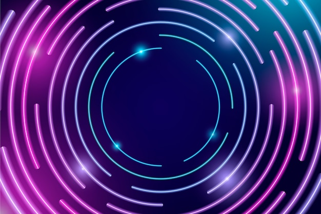 Sfondo di luci al neon di disegno astratto Vettore gratuito