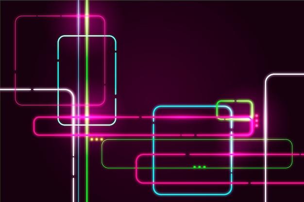 Sfondo di luci al neon di forme geometriche Vettore gratuito