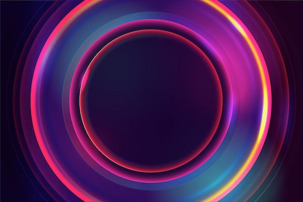 Sfondo di luci al neon nei circoli Vettore gratuito