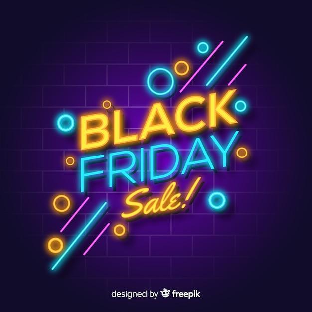 Sfondo di luci al neon vendita venerdì nero Vettore gratuito