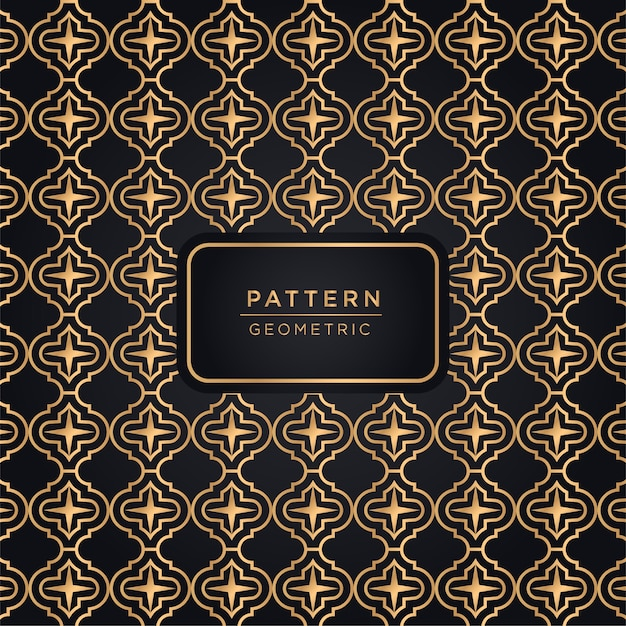 Sfondo di lusso motivo geometrico in colore oro Vettore Premium