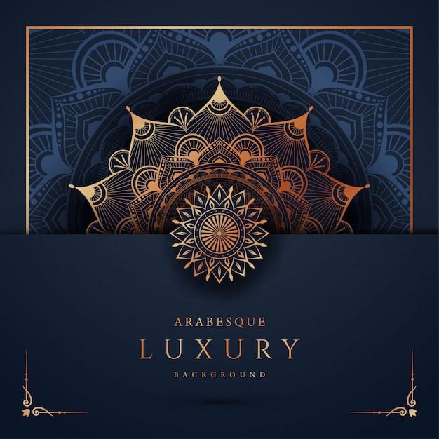 Sfondo di mandala di lusso con arabeschi dorati arabi arabi stile orientale Vettore Premium