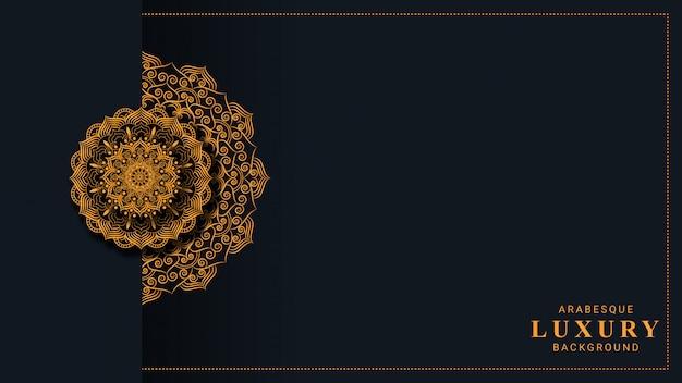 Sfondo di mandala di lusso con arabesco dorato stile islamico arabo Vettore Premium