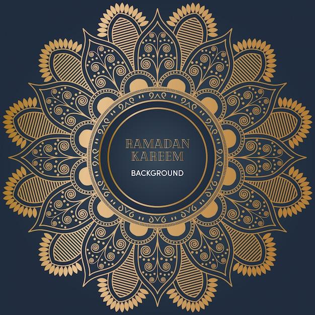 Sfondo di mandala ramadan con colore oro lusso Vettore Premium