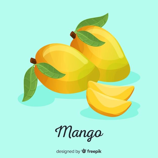 Sfondo di mango disegnato a mano Vettore gratuito