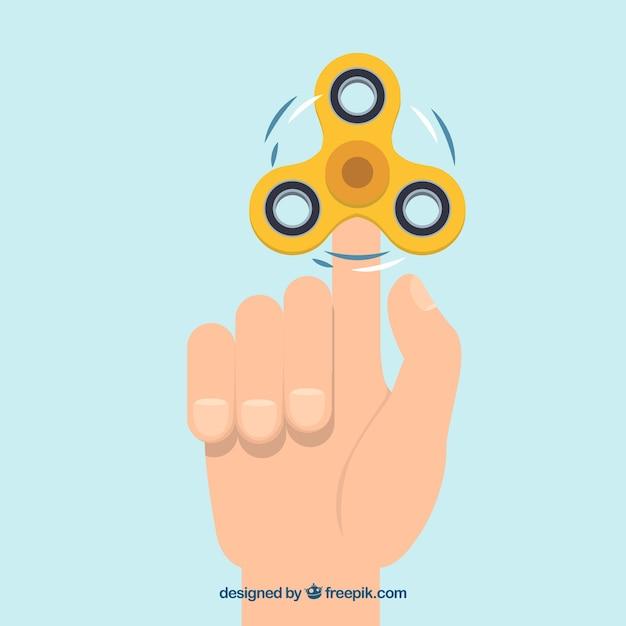 Sfondo di mano con spinner giallo Vettore gratuito