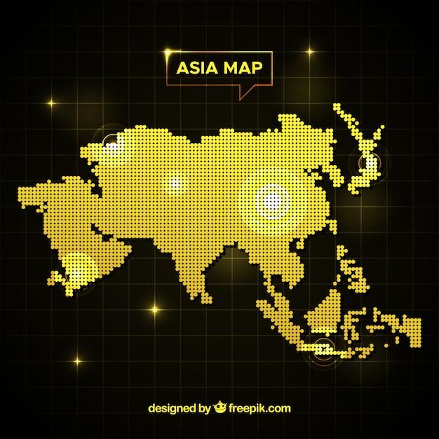 Sfondo di mappa asia con punti Vettore gratuito