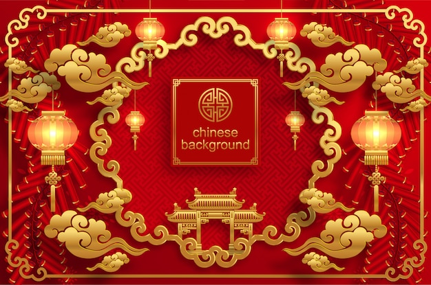 Sfondo di matrimonio orientale cinese Vettore Premium