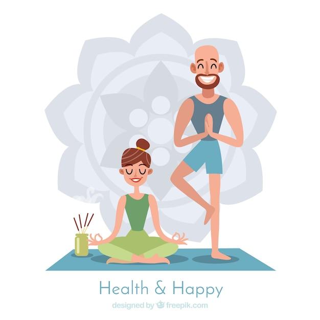 Sfondo di meditazione con coppia Vettore gratuito
