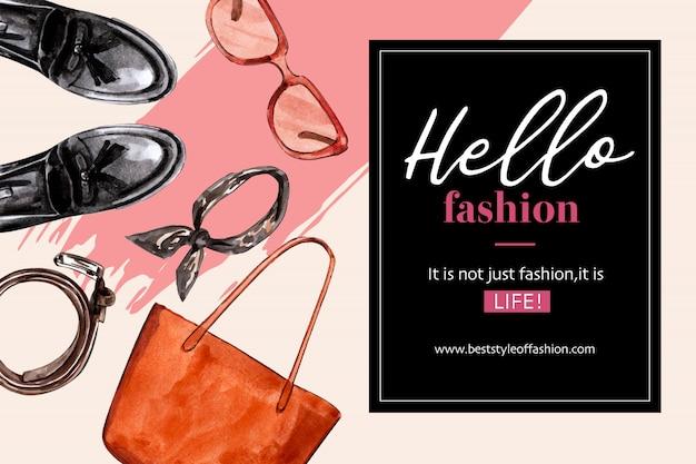 Sfondo di moda con borsa, scarpe, occhiali da sole Vettore gratuito