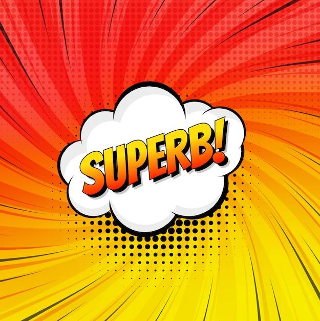 Sfondo di modello pop art colorato testo superbo fumetti Vettore Premium