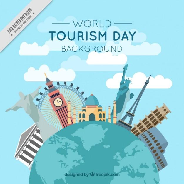 Sfondo di mondiali ed internazionali monumenti Vettore gratuito