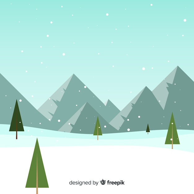 Sfondo di montagna coperta di neve Vettore gratuito