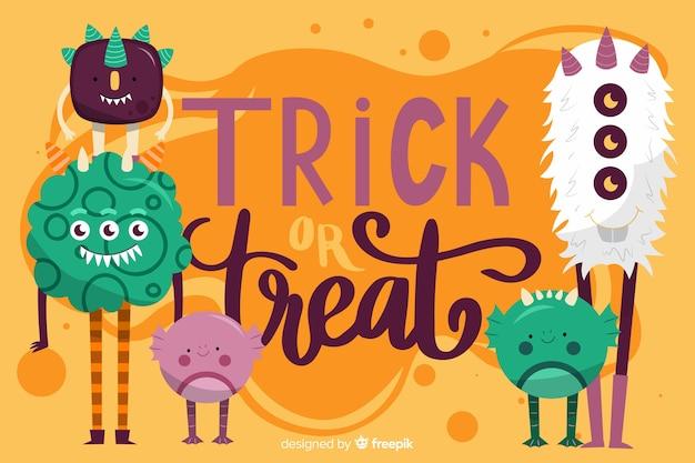 Sfondo di mostri di halloween in design piatto Vettore gratuito
