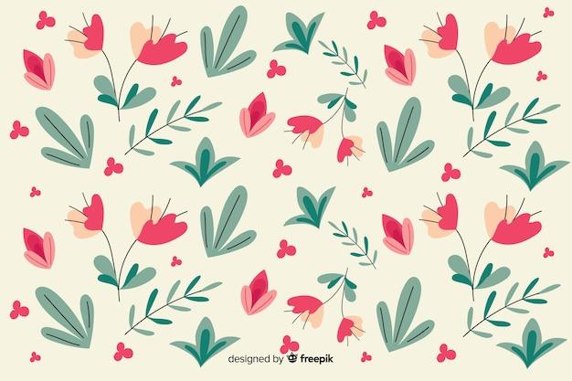Sfondo di motivi floreali design piatto Vettore gratuito