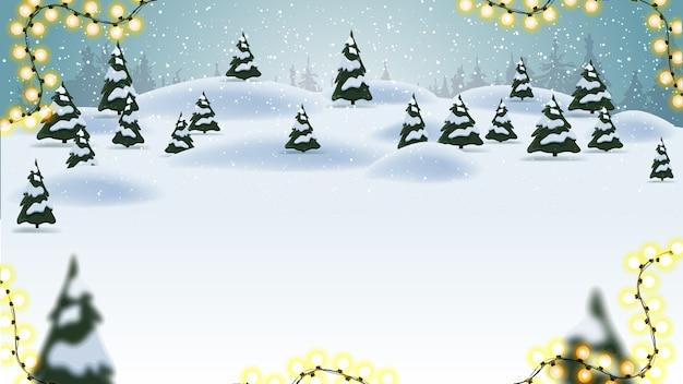 Sfondo di natale con cartone animato paesaggio Vettore Premium