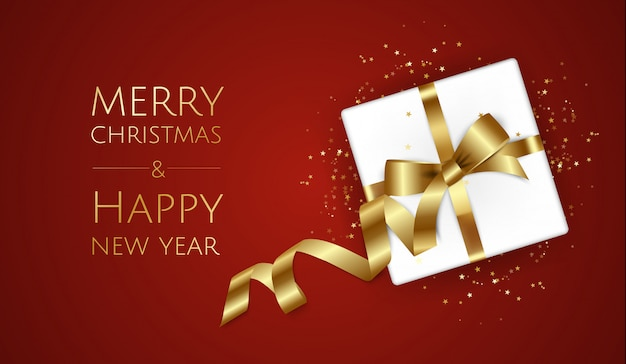 Sfondo di natale con confezione regalo e nastri, cartolina d'auguri di natale o modello di poster, Vettore Premium