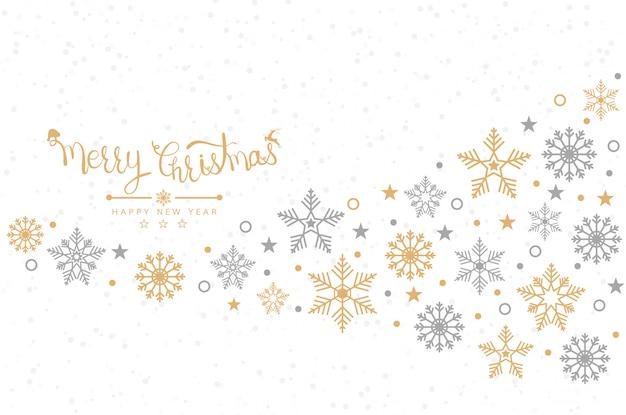 Sfondo di natale con fiocchi di neve, banner, carta Vettore Premium