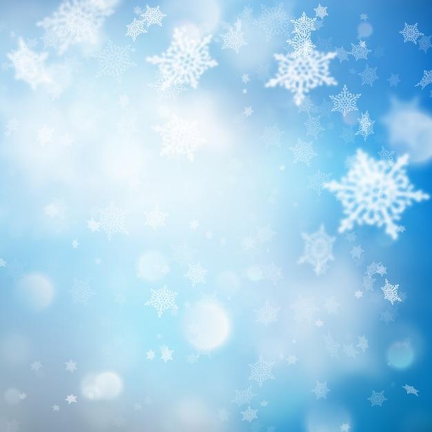 Sfondo di natale con luci e fiocchi di neve. Vettore Premium