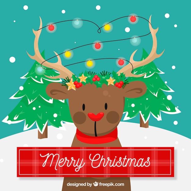 Sfondi Natalizi Renne.Sfondo Di Natale Con Una Renna Scaricare Vettori Gratis